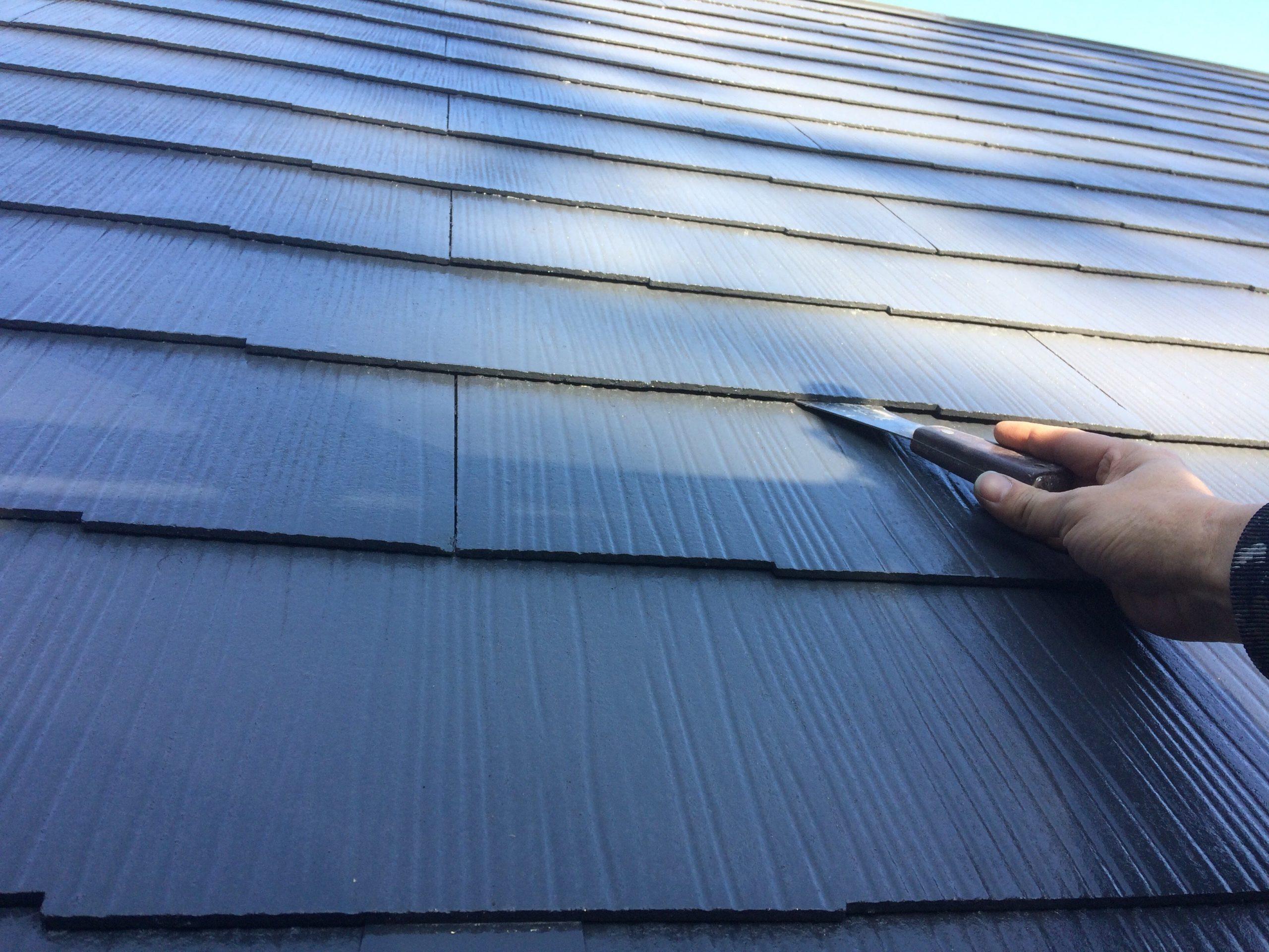 スレート屋根へのカワスキによる縁切り