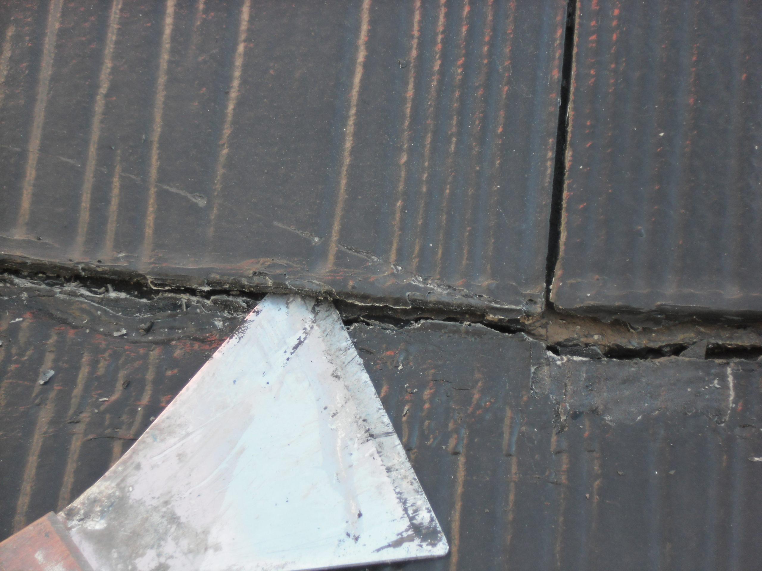 2度目の屋根塗装の重なり部